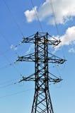 Albero della linea elettrica ad alta tensione Fotografia Stock