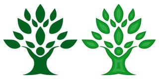 Albero della natura della famiglia di colore verde, simbolo del gruppo illustrazione vettoriale