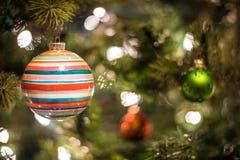 albero della neve dell'ornamento di natale della canna di caramella Fotografie Stock Libere da Diritti