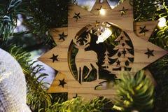 albero della neve dell'ornamento di natale della canna di caramella Fotografia Stock Libera da Diritti