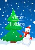 Albero della pelliccia e del pupazzo di neve nell'inverno Concetto felice di inverno dei fiocchi di neve Immagini Stock