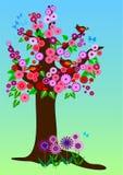 Albero della sorgente con i fiori Immagini Stock