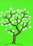 Albero della sorgente in fiore, dipingente Fotografie Stock Libere da Diritti