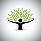 Albero di abbraccio della gente o natura - vettore di concetto di stile di vita di eco Immagine Stock