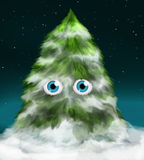 Albero di abete dello Snowy con gli occhi Fotografia Stock Libera da Diritti