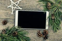 Albero di abete di Natale con i coni Fotografia Stock Libera da Diritti