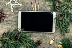 Albero di abete di Natale con i coni Fotografie Stock Libere da Diritti