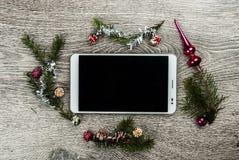 Albero di abete di Natale con i coni Fotografia Stock