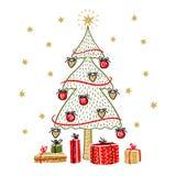 Albero di abete e contenitori di regalo isolati su fondo bianco illustrazione di stock