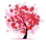 Albero di acero, caduta del foglio di autunno Immagini Stock
