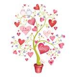 Albero di amore con i cuori e gli uccelli in un vaso L'illustrazione di vettore è Fotografie Stock Libere da Diritti