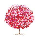 Albero di amore con i cuori, tema del biglietto di S. Valentino illustrazione di stock