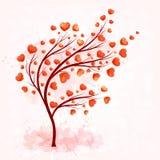 Albero di amore con le foglie dai cuori Fotografia Stock