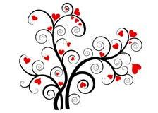 Albero di amore del biglietto di S. Valentino con i cuori rossi Immagini Stock Libere da Diritti