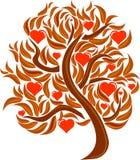 Albero di amore della cartolina con le foglie ed i cuori rossi Fotografia Stock