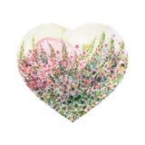 Albero di amore di forma del cuore per nozze, giorno di biglietti di S. Valentino, acquerello Fotografia Stock