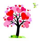 Albero di amore felice con molti cuori Immagini Stock Libere da Diritti