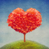Albero di amore nel campo, fondo di giorno di biglietti di S. Valentino illustrazione vettoriale