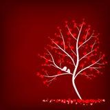 Albero di amore su fondo rosso Fotografia Stock