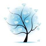 Albero di arte con i diamanti royalty illustrazione gratis