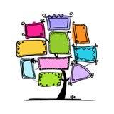 Albero di arte con le strutture per la vostra progettazione Immagine Stock