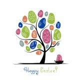 Albero di arte con le uova di Pasqua per la vostra progettazione Immagini Stock Libere da Diritti