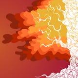 Albero di autunno con le foglie di rosso ed arancio Immagini Stock Libere da Diritti
