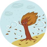Albero di autunno sotto pioggia e vento illustrazione di stock