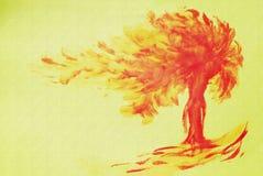 Albero di autunno su un fondo strutturale giallo Umore di autunno, soleggiato Immagine di un albero di autunno Arte Astrazione Co royalty illustrazione gratis