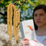 Albero di betulla della donna di allergia Fotografia Stock