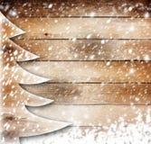 Albero di carta di Natale sui precedenti innevati Fotografie Stock