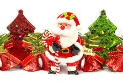 Albero di Chirstmas, campana, il Babbo Natale Fotografia Stock