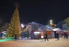"""Albero di """"Christmas dell'oggetto di arte del  del love†al quadrato di Livu in vecchio Ri Immagini Stock Libere da Diritti"""