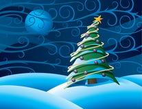 Albero di Christmass alla notte Fotografia Stock