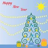 Albero di Christmass dalle spirali illustrazione vettoriale