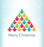 Albero di colore di Natale della gente Fotografie Stock