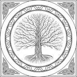 Albero di contorno di Druidic Yggdrasil, logo gotico in bianco e nero rotondo stile antico del libro immagini stock