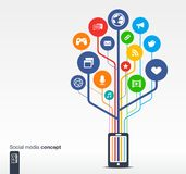 Albero di crescita con la rete sociale di media del telefono cellulare Fotografia Stock Libera da Diritti
