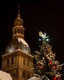 Albero di Cristmas con gli orologi della torre della cattedrale alla notte Fotografia Stock Libera da Diritti