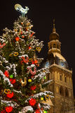Albero di Cristmas con gli orologi della torre della cattedrale alla notte Fotografie Stock