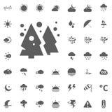Albero di Cristmas ed icona dei fiocchi della neve Icone di vettore del tempo messe Fotografia Stock