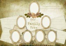 Albero di famiglia dell'album dell'annata Fotografia Stock