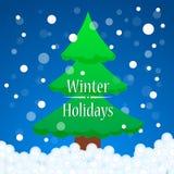 Albero di festa della pelliccia nell'inverno Concetto felice di inverno dei fiocchi di neve Fotografia Stock