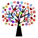 Albero di giorno dei biglietti di S. Valentino con i fiori dei cuori degli uccelli di amore Fotografia Stock