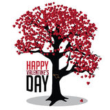 Albero di giorno di biglietti di S. Valentino della carta dei cuori Immagini Stock Libere da Diritti