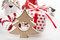 Albero di legno di Natale con la campana Immagini Stock Libere da Diritti
