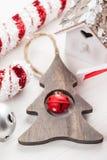 Albero di legno di Natale con la campana Immagine Stock Libera da Diritti