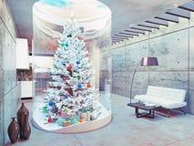 Albero di Live Christmas all'interno Fotografie Stock Libere da Diritti