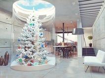 Albero di Live Christmas all'interno Immagini Stock