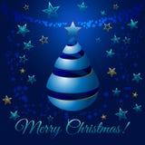 Albero di nastro blu di Natale, illustrazione di saluto di vettore Fotografia Stock